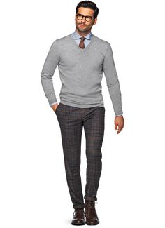 Light Grey V Neck Sw502 | Suitsupply Online Store