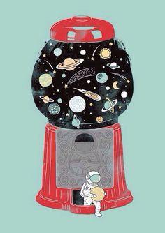 Space man•vending machine•gobstopper