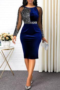 Blue Sequin Dress, Colorblock Dress, Long Sleeve Sweater Dress, Maxi Dress With Sleeves, Slit Dress, Mode Chanel, Tribal Print Dress, Necklines For Dresses, African Fashion Dresses