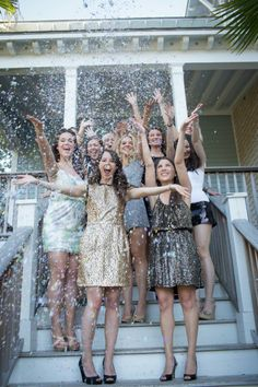Make a seriously sparkly statement in matching dresses at your bachelorette party.
