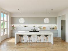 Küchengestaltung weiß grau einen gehobenen Charakter Holzboden Kücheninsel weißer Marmor weiße Hängeleuchten