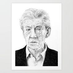 Sir Ian Mckellen, drawn by me. Buy it now!