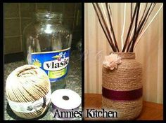 Sherri Lynn Beitz-Prather on FB... Who knew a jar of pickles could be so cute???!!!! DIY craft Get yourself some twine, hot glue gun, an old jar, a pretty flower, some ribbon, and voila!!!! You got an awesome vase!!! Clean and dry jar. Starting at the bottom, put a little glue on the jar and put twine on. Keep dabbing on glue and putting on twine right away, before glue dries More