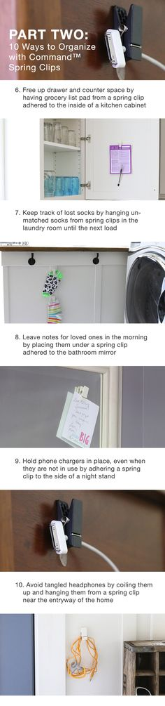 10 ways to organize with spring clips - part 2