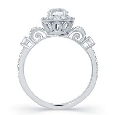 CINDERELLA CARRIAGE BRIDAL RING In 14KT WHITE GOLD // Enchanted Fine Jewelry
