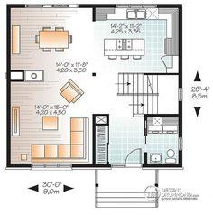 Plan de Rez-de-chaussée 3 chambres, modèle contemporain, salon attrayant, foyer double au gaz, buanderie rez-de-chaussée - Altaire