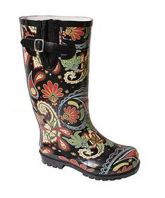 fab428fd6f88 A cute rain boot is a must for western Washington! Black Paisley Puddles Rain  Boot