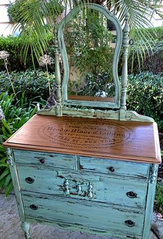 Gorgeous Milk Paint Dresser Project with Vintage Transfer Top!