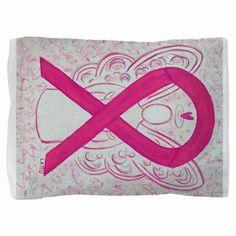 Hot Pink Awareness Ribbon Angel Art Pillow Sham - The hot pink or magenta awareness ribbon supports awareness for  inflammatory breast cancer.