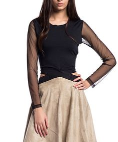 Look at this #zulilyfind! Black Mesh-Accent Cross-Waist Top #zulilyfinds