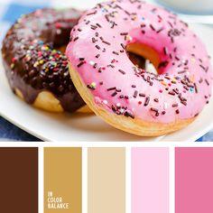 beige, beige pálido, chocolate, color alcorza de chocolate, color chocolate, color fucsia pálido, combinación de colores, matices de color cálido, rosado cálido, rosado claro, tonos marrones, tonos rosados.