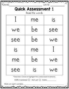 Sight Word Practice Kindergarten Set 1 Kindergarten Sight Words List, Kindergarten Assessment, Preschool Sight Words, Learning Sight Words, Preschool Writing, Sight Word Practice, Kindergarten Learning, Preschool Learning Activities, Sight Word Sentences