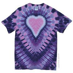 Pink Purple Heart Tie Dye T Shirt