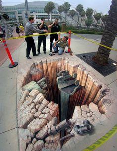 Awesome Street Art : Optical illusion by Kurt Wenner 3d Street Art, Murals Street Art, Amazing Street Art, Street Art Graffiti, Graffiti Artists, Street Artists, Illusion Kunst, Illusion Art, Art Optical