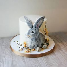 For Heaven's Cake: Irresistible Cakes for All Occasions Gorgeous Bunny Cake! For Heaven's Cake: Irresistible Cakes for All Occasions Pretty Cakes, Cute Cakes, Mini Cakes, Cupcake Cakes, Dog Cakes, Fondant Cakes, Bolo Lego, Rabbit Cake, Cheesecake Desserts