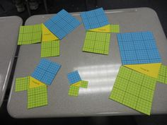 Use squares to visualize the Pythagorean Theorem. How do the areas of the green squares compare to that of the blue square? Math Strategies, Math Resources, Math Activities, Teaching Geometry, Teaching Math, Pythagorean Theorem, Montessori Math, Maths Algebra, 7th Grade Math