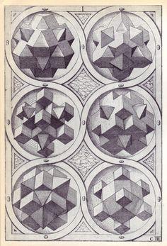 Wenzel Jamnitzer - Perspectiva Corporum Regularium; studies on platonic solids and geometries, 1568(!)