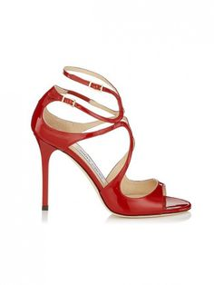 Who doesn't love a red strappy patent heel? // Lang Sandals by Jimmy Choo