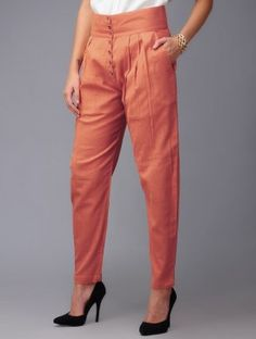 Tangerine Pleated Cotton Pants from jaypore Formal Pants Women, Pants For Women, Cotton Pants, Linen Pants, Plazzo Pants, Silk Kurti, Churidar Designs, Pants Pattern, Pattern Sewing