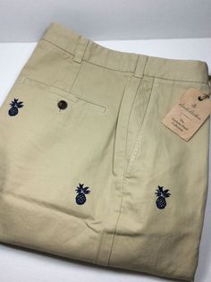 BROOKS BROTHERS MEN'S PINEAPPLE EMB.BERMUDA  SHORT. SIZE 38.NWT. MSRP. $129.00 #BrooksBrothers #CasualShorts