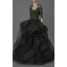 Embroidered Cascading Tulle Ball Gown   Moda Operandi ($13,235) ❤ liked on Polyvore featuring dresses, gowns, tulle ball gown, beaded evening gowns, tulle evening dress, tulle evening gown and embroidered gown
