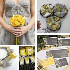 yellow and grey wedding color palette….
