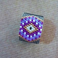 Purple seed bead ring Evil Eye Beaded ring Silver gray band
