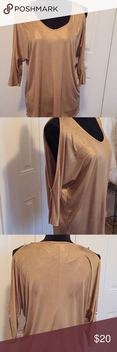 INC Gold Top with Crystal Buttons Cold Shoulder Shimmery Gold Top with Peekaboo Arms  Polyester/Spandex Mix  Perfect for the holidays! 🎉 INC International Concepts Tops