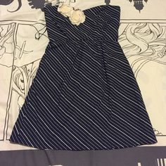 Judith March navy & cream strapless dress Adorable Navy&cream pinstripe dress with rosette detail. 100% cotton. With POCKETS!!!!Excellent used condition. Judith March Dresses Strapless
