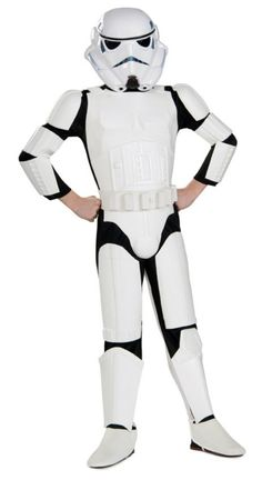 Deluxe Stormtrooper Costume - Medium. Our kids stormtrooper costume includes jumpsuit with EVA molded armorpieces and a two-piece stormtrooper helmet-mask. The kids Star Wars storm trooper costume comes in child sizes Small, Medium, Large. This kids Star Wars storm trooper costume is an officially licensed Star Wars costume. The Storm trooper blaster is available separately from this Star Wars stormtrooper Halloween costume for children.