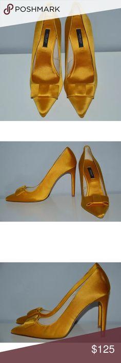 Zara yellow gold satin court shoe Slight damage as seen in photo. Not noticeable when worn. Zara Shoes Heels