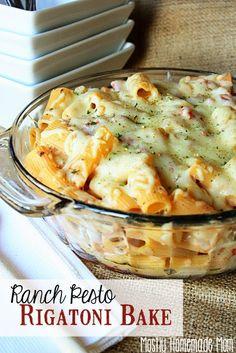 Mostly Homemade Mom: Ranch Pesto Rigatoni Bake {Vegetarian}