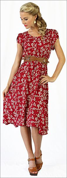 #Modest doesn't mean frumpy! www.ColleenHammond.com Ella Dress in Red Floral Print/ Modest Dresses/ Modest Spring Dresses/ Lots of modern and modest dresses here! www.sierrabrooke.com