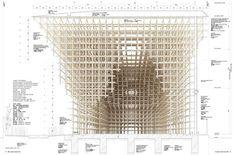 GC Prostho Museum Research Center / Kengo Kuma & Associates Kengo Kuma, Architecture Drawings, Architecture Details, Grid Architecture, Section Drawing, Sou Fujimoto, Design Food, Parametric Design, Layout