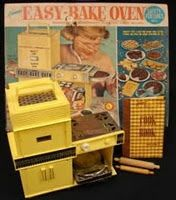 Easy Bake Oven. Mine was blue, loved watching the cakes cook by a light bulb!!