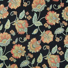Black color Floral pattern Chenille and Jacquard type Upholstery Fabric called Noir by KOVI Fabrics Floral Fabric, Fabric Art, Greenhouse Fabrics, Pattern Images, Botanical Flowers, Pretty Patterns, Painted Doors, Fabric Wallpaper, Pin Image