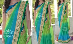 Triple shaded shiffon saree Top border finished with Cut work Border and Rama Blue Raw silk patti, Bottom border finished with Green raw silk patti and Cut work border Blouse : Rama Blue Raw Silk with border for hands to make the pattern To Buy this saree write us at purandhistore@gmail.com or contact Us on whats app- 9063534017
