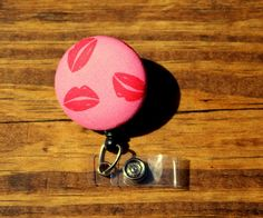 Red Lips Badge, Lips Badge, Valentine Badge, Retractable Badge,Swivel Clip,RN Badge, CnA Badge, Coach Badge, Teacher Badge, Fabric Badge by TheNerdyFatCat on Etsy