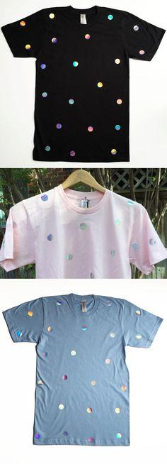 Holographic T-shirt Tee Iridescent Hologram by SkinnySweatsShop