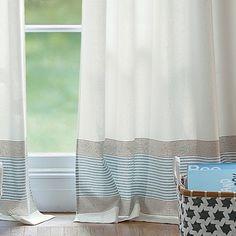 Yacht Stripe Window Panel, Ivory - modern - curtains - Serena & Lily