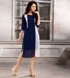 Blue & White #Embroidered #Georgette #Kurti/ #Dress