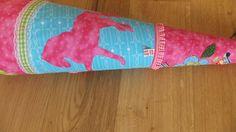 Schultüten - Schultüte aus Stoff Pferde pink türkis - ein Designerstück von Eichhorn-Barbara bei DaWanda