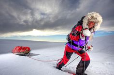 The fastest unconfirmed hike to the North Pole by a female is 48 days 22 hr and was achieved by Cecilie Skog (Norway) Alesund, World Images, World Records, Outdoor Camping, Continents, My Hero, Norway, Hiking, North Pole
