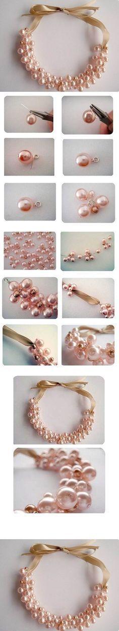 Beautiful Pearl Necklace DIY * wunderbare methode, aufstifteln, 6 versch. grosse auf ein ringli und auffädeln