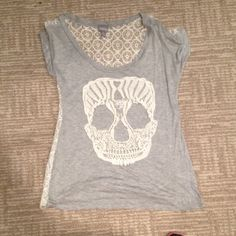 LACE SKULL TOP Lace skull top with see through lace back. Looks great with a flannel and leggings! Worn once! No stains/rips-perfect condition! I HAVE BUNDLE DEALSSMOKE FREE HOME FAST SHIPPING  Vanity Tops