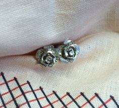 Vintage Sterling Textured Rose Post Earrings by WimerAntiques