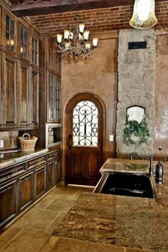 24 Beautiful Dark Kitchens Part 1 Check Us Out On Fb Unique Intuitions Old World Mediterranean Decorating Pinterest Dark Unique And Kitchens