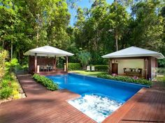 Cleaner than Bali huts and timber would tie in with the fence cover Gazebo On Deck, Backyard Gazebo, Screened In Patio, Pergola, Pool Screen Enclosure, Outdoor Pavillion, Bali Huts, Garden Huts, Swimming Pool Enclosures