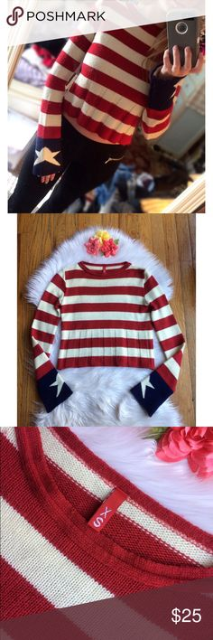 Limited Edition H&M Bell Sleeve Sweater🍂 Awesome limited edition patriotic sweater from H&M's Divided Collection! Features a unique striped tiered middle and bell style sleeves with a star on the end of each one. Super unique! Slightly cropped fit, soft knit material. In like new condition, worn once! Size xs :)  Measurements: Total Length (top of shoulder to bottom hem)- 18 inches  Bust- 16 inches flat across H&M Sweaters Crew & Scoop Necks