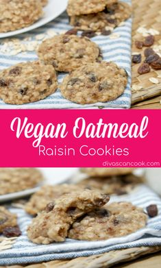 Shhh, yes it's vegan! Vegan oatmeal raisin cookies that taste like it's made with butter and eggs! So soft and chewy! Raisin puree is the secret! Vegan Oatmeal Raisin Cookies, Vegan Chocolate Chip Cookies, Chocolate Chip Oatmeal, Easy Cookie Recipes, Veggie Recipes, Snack Recipes, Cookies Ingredients, Easy Snacks, Food Processor Recipes